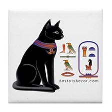 Cat Bastet & Egyptian Hieroglyphics Tile Coaster