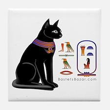 Cat Bastet & Egyptian Hieroglyphics Tile Coaster