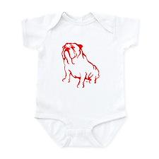 Bulldog Logo LT Red Infant Bodysuit