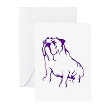 Bulldog Logo Purple Greeting Cards (Pk of 10)