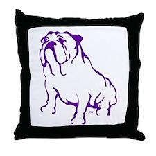 Bulldog Logo Purple Throw Pillow