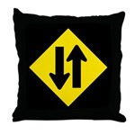 Two Way Traffic Sign - Throw Pillow