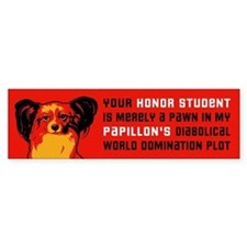 "Papillon ""Honor Student..."" Bumper Bumper Sticker"
