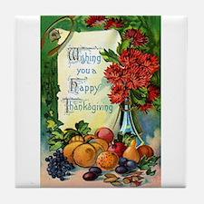 Vintage Happy Thanksgiving Greetings Tile Coaster