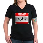 Hello my name is Colin Women's V-Neck Dark T-Shirt