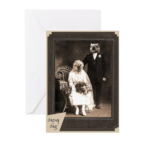 Bulldog VINTAGE WEDDING Greeting Cards Package Of By Dopeydogart