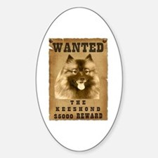"""Wanted"" Keeshond Oval Decal"
