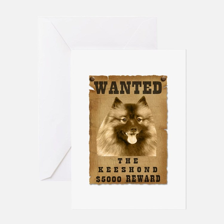 """Wanted"" Keeshond Greeting Card"