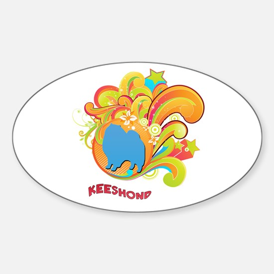 Groovy Keeshond Oval Decal