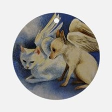 Dog and Cat Angel Ornament (Round)