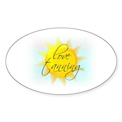 LOVE TANNING Oval Decal