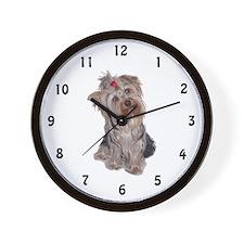 yorkie portrait Wall Clock
