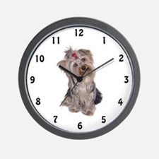 yorkie portrait Wall Clock