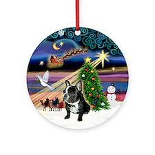 Christmas Magic French Bulldog Keepsake (Round)