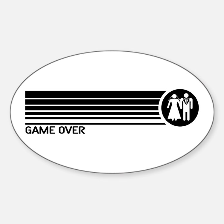 Game Over Wedding Oval Sticker (10 pk)