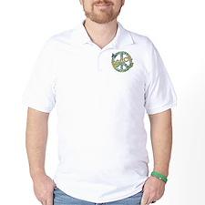 Vintage Retro Peace Golf Shirt