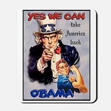 Uncle Sam Rosie Riveter for Obama Mousepad