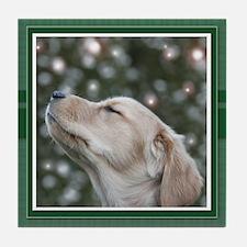 Golden Christmas Wishes Tile Coaster