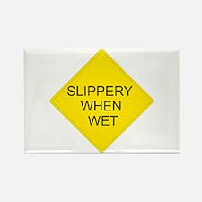 Slippery When Wet Sign - Rectangle Magnet