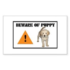 Beware of Puppy Rectangle Decal