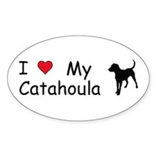 I Love My Catahoula Oval Decal