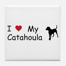 I Love My Catahoula Tile Coaster
