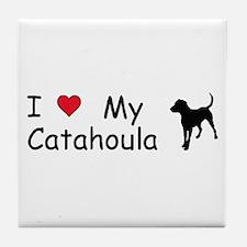 I Love My Catahoula Tile Coaster