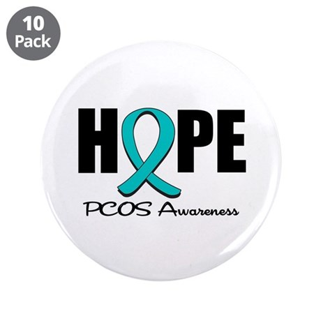 """Hope PCOS Awareness 3.5"""" Button (10 pack)"""
