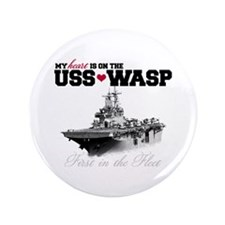 "USS Wasp (Heart) 3.5"" Button"