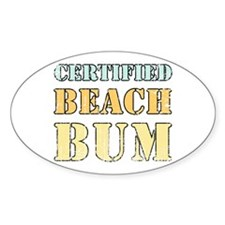 Certified Beach Bum Oval Decal