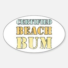 Certified Beach Bum Oval Stickers