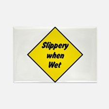 Slippery When Wet Sign 2 - Rectangle Magnet