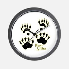 River Otter Tracks Wall Clock