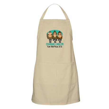 See Speak Hear No Ovarian Cancer 1 BBQ Apron