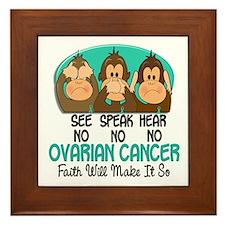 See Speak Hear No Ovarian Cancer 1 Framed Tile