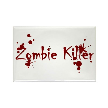 Zombie Killer Splatters Rectangle Magnet