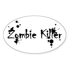 Zombie Killer Splatters Oval Sticker (10 pk)