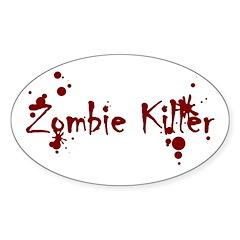 Zombie Killer Splatters Oval Decal