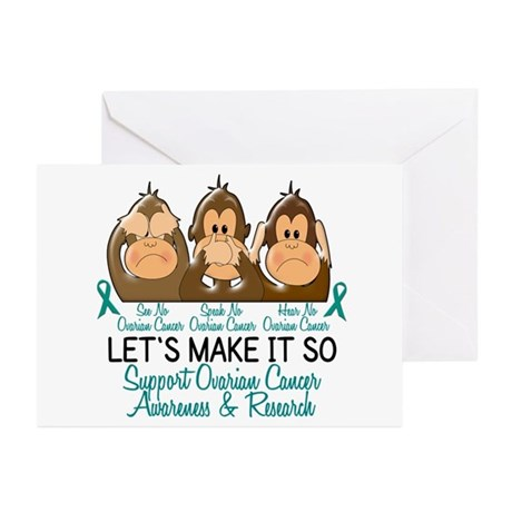 See Speak Hear No Ovarian Cancer 2 Greeting Cards