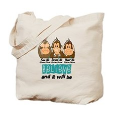 See Speak Hear No Ovarian Cancer 3 Tote Bag