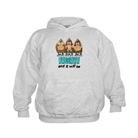 See Speak Hear No Ovarian Cancer 3 Kids Hoodie