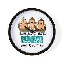 See Speak Hear No Ovarian Cancer 3 Wall Clock