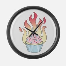 Flaming Cupcake Large Wall Clock