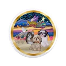 "XmasStar/3 Shih Tzus 3.5"" Button"