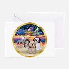 XmasStar/3 Shih Tzus Greeting Cards (Pk of 20)