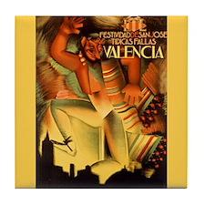 Vintage Valencia Fallas Festival Art Tile Coaster