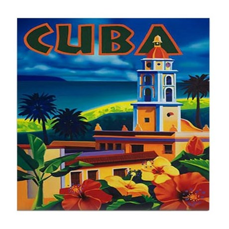 Cuba Vintage Travel Poster Art Tile Coaster
