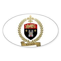 CARIVEAU Family Crest Oval Decal