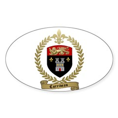 CORRIVEAU Family Crest Oval Decal