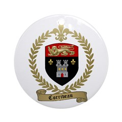 CORRIVEAU Family Crest Ornament (Round)